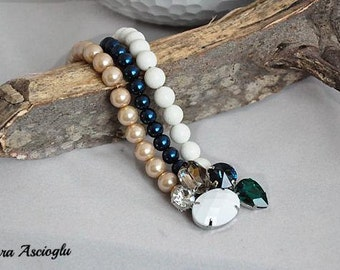 Handmade Weddings White coral and Glass Pearl Bracelet with Swarovski Crystals Bridsmaids Gifts