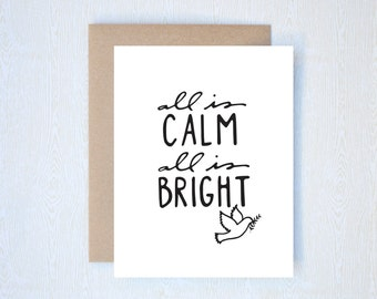 All is Calm, All is Bright Christmas Holiday Card Letterpress Printed Handlettered Calligraphy Handlettering