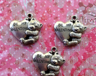 Be My Valentine Heart w/Teddybear charms --3 pieces-(Antique Pewter Silver Finish)--style 884-Free combined shipping