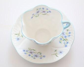 Vintage Shelley English Fine Bone China, Dainty Shape, Blue Rock Pattern Tea Cup and Saucer Tea Party - c. 1940 - 1962