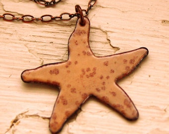 Starfish Necklace - Enameled Copper Pendant