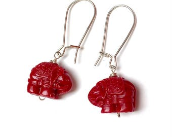 Sterling Silver Elephant Earrings. Resin. Red. Ganesh. Wildlife. Nature. Dangle Earrings. Drop Earrings.