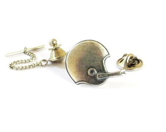Football Helmet Tie Tack Sterling Silver Ox Finish Gifts For Men