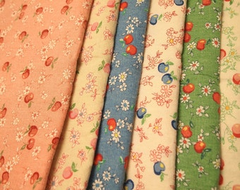 RESERVED for Eric Ang - Atsuko Matsuyama Linen Fabric - japanese, floral, apple