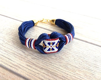 Tribal Beaded Bracelet, 4 July Jewelry, Ethnic Boho Bracelet, Bohemian Hippie Bracelet, Gypsy Cuff, Birthday Gift, Anniversary Gift