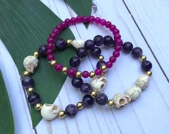 Dia de Muertos Collection / New Orleans Skull Gemstone Stretch Bracelets