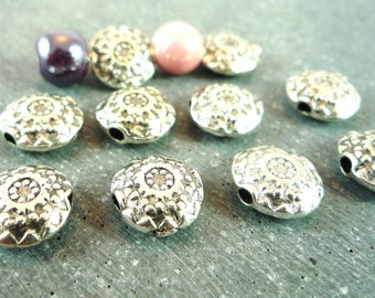 10 beads silver metal spacers, 10mm (pm81)