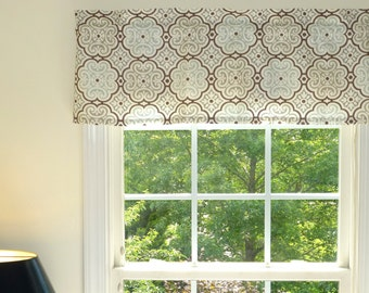 Grey Window Valance - Window Valance - 52 x 16 Valance - Window Treatment - Nyle Grey/Brown/Blue Window Valance with Ruflled Top