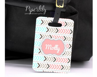 Custom Luggage Tags Personalized Suitcase Tags Customized Travel Tags Tribal Aztec Arrows Gift Ideas for Travelers Pretty Luggage Tag