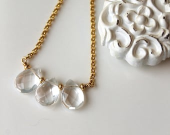 Crystal Trio necklace / Crystal Gemstone Necklace / Vermeil and Gold Filled necklace / Rock Crystal Teardrop