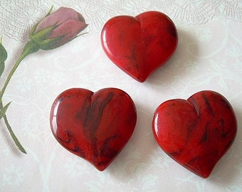 Vintage Red Lucite Heart Beads Black Accents Asymmetrical 3