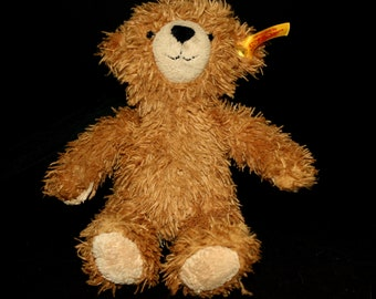 "Steiff Bear ""Happy Teddybar"" Germany Teddy Light Brown Tan Stuffed Toy"