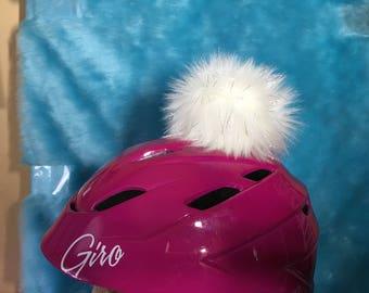 """Helmet pom pom white sparkle faux fur sticks on your helmet place where you want 4 1/2"""" pom pom or tail sricks on helmet or where ever!"""