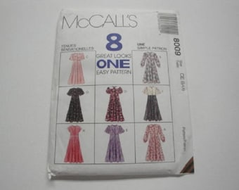 """McCall's Crafts Pattern #8009 """"Little Girl Dresses"""" size 7/8/10"""