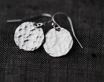 Hammered Silver Earrings Handmade, Minimalist Earrings, Sterling Silver Handmade Jewelry, Gift for Women, Jewellery by Burnish