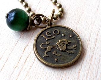 Leo Zodiac Necklace, Leo Necklace, Leo Zodiac Jewelry Leo Zodiac Sign Jewelry - Green Jade Pendant Necklace