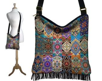 Persian Patchwork, Hippie Bag, Hobo Purse, Crossbody Slouch Bag, Gypsy Boho Fringe Bag, zipper, pockets, jewel colors, long strap  RTS