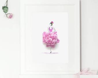 Peony Flower, Floral Fashion Illustration Print, Home Decor, Gift for Her, Flower Photography, Sassy Du Fleur, Wall Art, A4, A3, Print