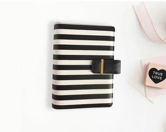 SALE Personal Black and White Stripe Planner Binder, small ring binder, portable binder