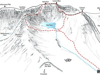 Helvellyn via Striding Edge and Swirral Edge. Line illustration showing the classic scrambles.