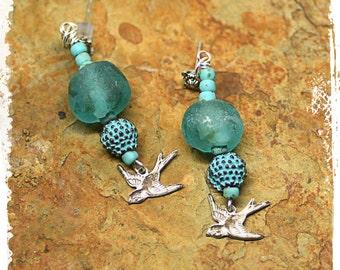 Turquoise Blue Aqua Glass Bird Earrings Boho Rustic Bohemian Gift for Women Swallow Earrings Patina Earrings