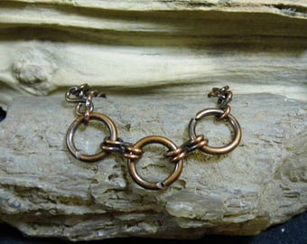 Antique Copper Handmade Link Ankle Bracelet size 9 1/2 inches Anklet
