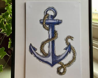 Seaside Collection - Hand Drawn Anchor Art Print, Nautical, Seaside, Ocean, Wall Art