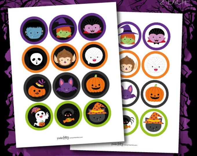 Halloween Stickers, Halloween Toppers, Halloween Decor, Monster Decorations, Halloween Party, Halloween Birthday, INSTANT DOWNLOAD
