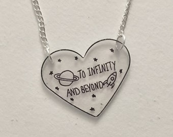 Disney Pixar Toy Story Infinity & Beyond Heart Necklace