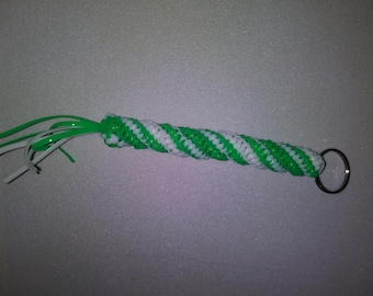 Unique Hand Weaved Green and White Keychain