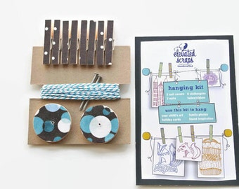 Art Hanging Kit ~ Mini Clothespins ~ Baker's twine ~ Nail Covers - Kid's Art Display Kit  ~ Fabric Scraps ~ Browns and Blues