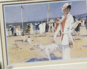 Framed Saluki Print, Beach Scene, Custom Mat and Framing