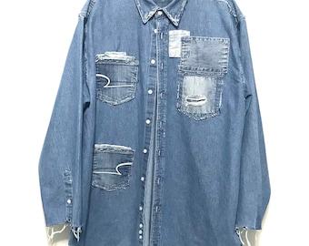 Stylish Distressed, oxford, denim shirt (XTRA LARGE)