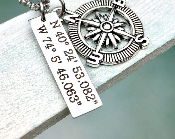 Coordinates of Love Pendant Necklace, latitude and longitude jewelry, location, gps, first home, vacation, travel, school, hometown,