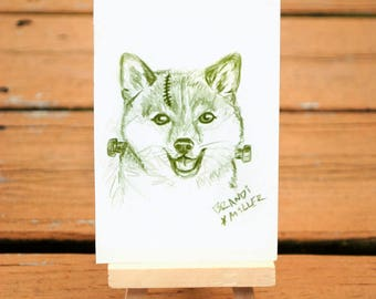 Frankenstein Shiba Inu Drawing, Frankenstien's Monster Dog Art, Cute Halloween Artwork, Monster Doge Green Colored Pencil, Tiny 4x6 Wall Art