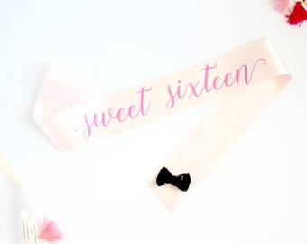 Sweet Sixteen Birthday Sash in Font #7 - Sweet 16 Birthday - 16th Birthday Party - Birthday Sash - Sixteen - 16th Birthday