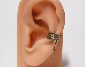 tiny Forest Dragonfly Ear Cuff