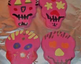 Day Of The Dead Salt Dough Skulls Ornaments
