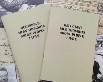 Pair of Pocket Notebooks- Nice and Mean Human Thoughts