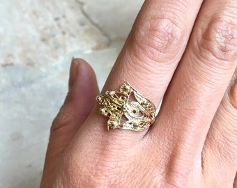 Hamsa ring,  against the evil eye, gold filled ring, brass hand ring, simple ring, dainty ring, statement filigree ring - Call me R2500