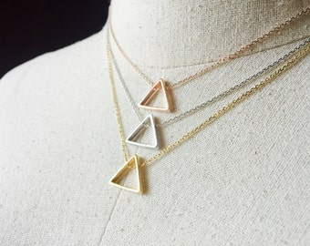 Triangle Necklace, 14k Gold plated/Rose Gold/Silver, Dainty Triangle Necklace, Tiny Triangle Necklace, 16k Gold Plated Triangle Necklace