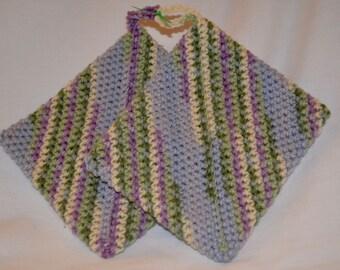 Crocheted Hot Pad/Pot Holder Shades of Blue, Green, Purple, Tan