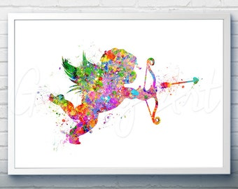 Cupid Love Art Watercolor Art Print  - Watercolor Painting - Cupid Love Watercolor Art Painting  - Home Decor - House Warming Gift
