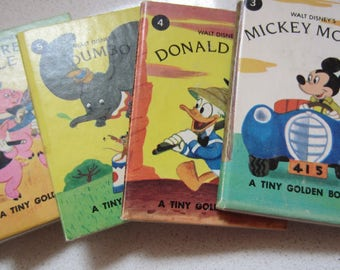 Set of 7 Tiny Golden Books Mickey Mouse, Donald Duck, Dumbo, 3 Little Pigs, Pinocchio, 7 Dwarfs, Bambi Vintage Minature  1980's Walt Disney