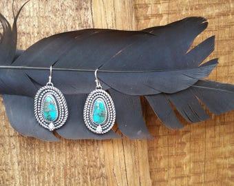 Kingman and Pyrite Teardrops ~ Silver Earrings ~ Turquoise Earrings ~ Silversmith ~ Metalwork ~ Gift Jewelry