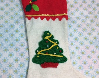 SUMMER SALE Vintage Felt Christmas Stocking with Christmas Tree Xmas Holiday Stocking Standard Size