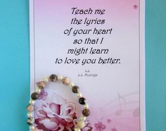Romantic Card/Anniversary/Birthday/ Personalized Card(Blank inside)-Jasper & Pearl Bracelet-Teach me the lyrics-Poem by L.L. (llmusings)