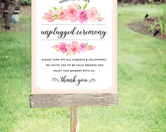 """Unplugged Wedding Sign   Instant Download   Wedding Signs   Floral   Poster Size 24""""x30""""   No. EDN 2009P"""