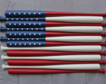 "American Baseball ""Bat Flag""  USA Painted Baseball Bats"