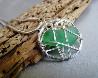 Handmade Authentic Sea Glass Pendant - Kelly Green - Caged Sea Glass - Beach Glass Jewelry from Prince Edward Island Beach - Ocean GIfts